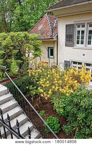 Inner Yard With Small Garden Of House In Baden Baden