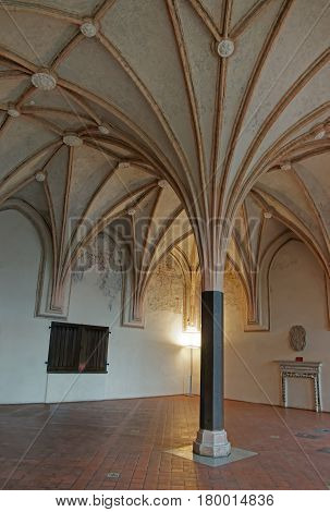 Malbork, Poland - May 8, 2014: Interior of Malbork Castle also called as Marienburg Teutonic Order at Pomerania of Poland.