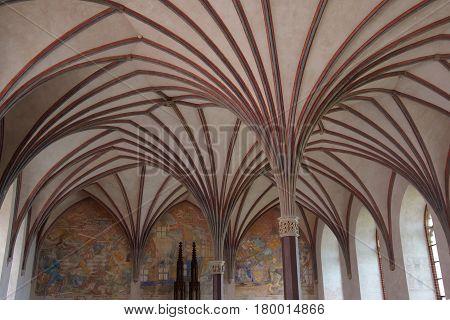 Malbork, Poland - May 8, 2014: Interior of Malbork Castle also called as Marienburg Teutonic Order in Pomerania of Poland.