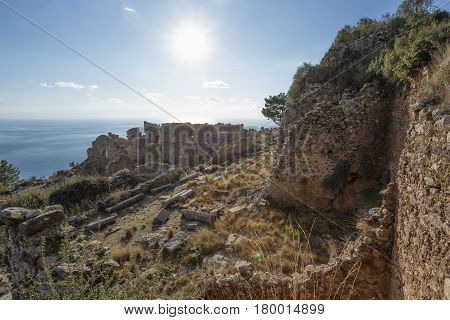 Collonade Street In Ancient City Of Syedra In Alanya Province