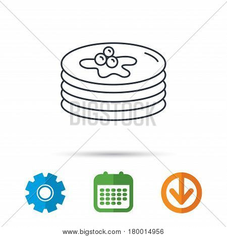 Pancakes icon. American breakfast sign. Food with maple syrup symbol. Calendar, cogwheel and download arrow signs. Colored flat web icons. Vector