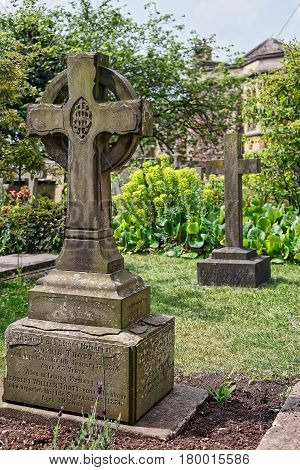 Stone Crosses At Churchyard Cemetery In Bristol Cathedral Uk
