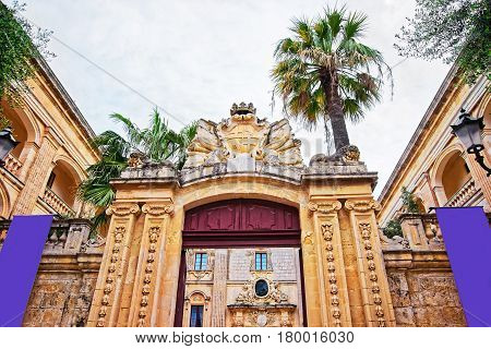 Entrance Gate At Natural History Museum In Mdina Malta