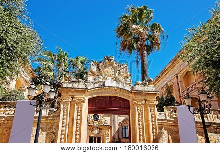 Entrance Gate Into Natural History Museum Mdina Of Malta
