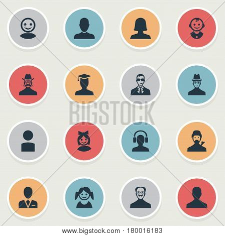 Vector Illustration Set Of Simple Human Icons. Elements Mysterious Man, Young Shaver, Whiskers Man And Other Synonyms Spy, Girl And Face.