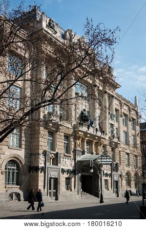 Budapest, Hungary - March 08, 2017: Exterior of the Franz Liszt Academy of Music in placed Ferenc Liszt Square. Includes a concert hall and music conservatory and founded in 1875