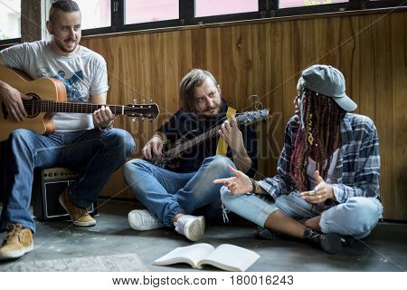 People Playing Guitar Rehearsal Band