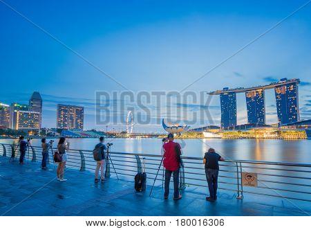 SINGAPORE CITY, SINGAPORE - FEBRUARY 11, 2017: View Of Marina Bay sands at sunrise. Travel, Singapore on FEBRUARY 11, 2017