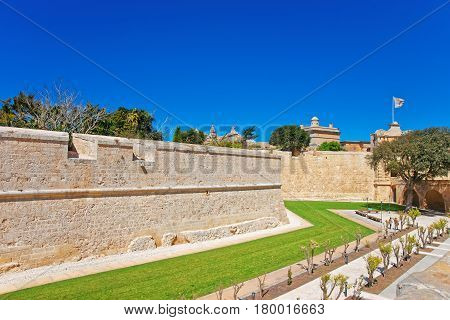 Mdina Walls In Fortified Old City Malta