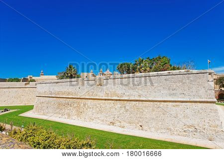 Mdina Walls Of Fortified Old City Malta