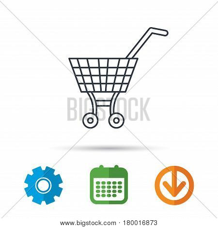 Shopping cart icon. Market buying sign. Calendar, cogwheel and download arrow signs. Colored flat web icons. Vector