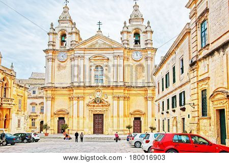People At St Paul Cathedral In Mdina In Malta