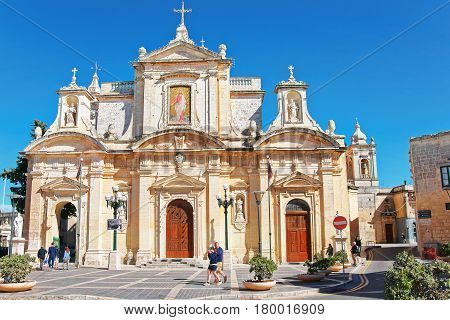 People At St Paul Church In Rabat Malta