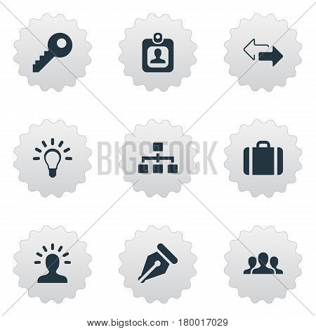 Vector Illustration Set Of Simple Commerce Icons. Elements Relationship, Nib, Group And Other Synonyms Net, Key And Nib.