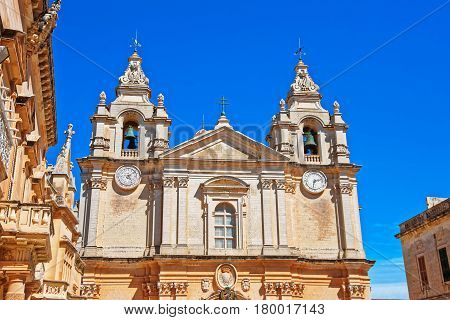 Saint Paul Cathedral In Mdina In Malta
