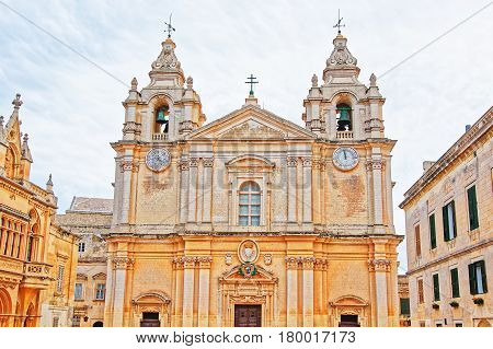 St Paul Cathedral In Mdina In Malta