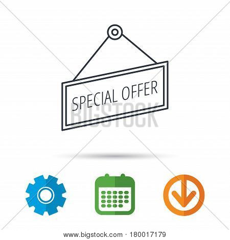Special offer icon. Advertising banner tag sign. Calendar, cogwheel and download arrow signs. Colored flat web icons. Vector