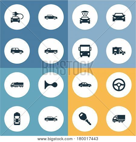 Vector Illustration Set Of Simple Car Icons. Elements Transport Cleaning, Driving, Tour Bus And Other Synonyms Transport, Key And Delivery.