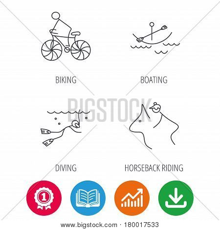 Diving, biking and horseback riding icons. Boating linear sign. Award medal, growth chart and opened book web icons. Download arrow. Vector