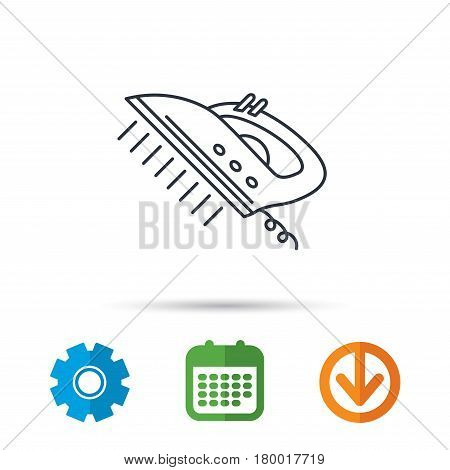 Steam ironing icon. Iron housework tool sign. Calendar, cogwheel and download arrow signs. Colored flat web icons. Vector