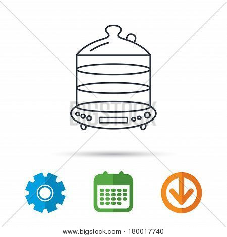 Steamer icon. Kitchen electric tool sign. Calendar, cogwheel and download arrow signs. Colored flat web icons. Vector