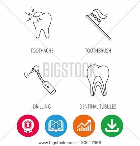 Toothache, drilling tool and toothbrush icons. Dentinal tubules linear sign. Award medal, growth chart and opened book web icons. Download arrow. Vector