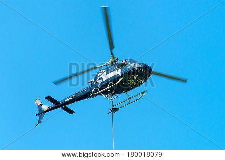 Helicopter In Sky In Lavaux Switzerland