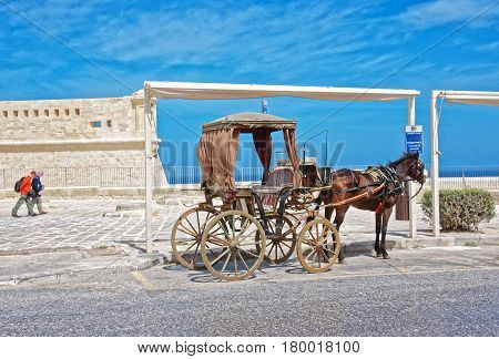 Horse Fiacre At St Elmo Fort In Valletta Malta