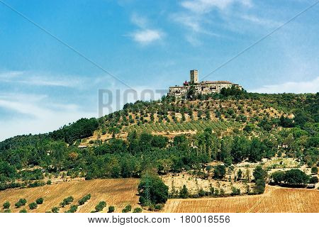 Agricultural field and ancient castle with a tower in summer