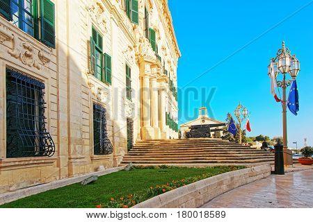 Auberge De Castille Building In Merchant Street In Valletta