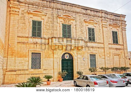 Building At St Paul Cathedral Square In Mdina Malta