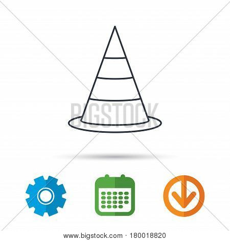 Traffic cone icon. Road warning sign. Calendar, cogwheel and download arrow signs. Colored flat web icons. Vector