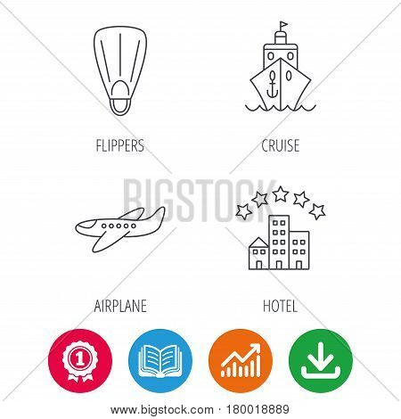 Cruise, flippers and airplane icons. Hotel linear sign. Award medal, growth chart and opened book web icons. Download arrow. Vector