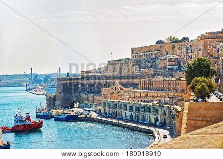 Dry cargo vessels at Valletta waterfront in Grand Harbor Malta