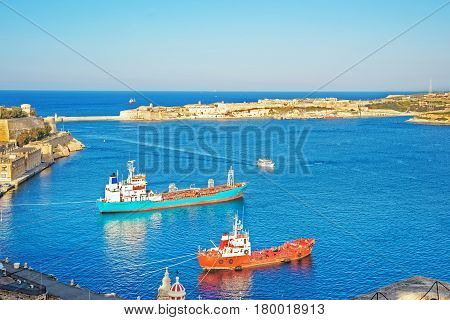 Dry Cargo Vessels At Grand Harbor And Fort Ricasoli Kalkara