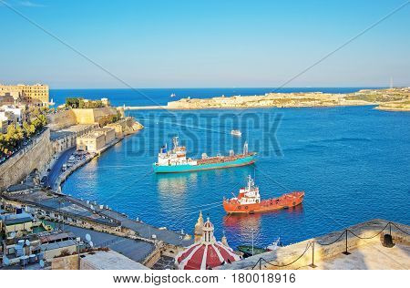 Dry Cargo Vessels In Grand Harbor And Fort Ricasoli Kalkara