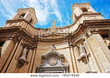 Facade Of Basilica Of St Dominic In Valletta