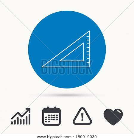 Triangular ruler icon. Straightedge sign. Geometric symbol. Calendar, attention sign and growth chart. Button with web icon. Vector
