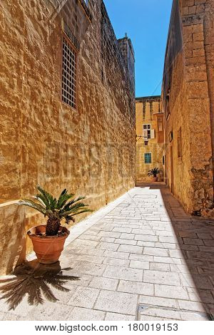 Narrow silent street in Mdina of Malta