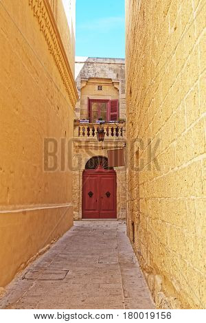 Narrow Silent Street With Lamp Mdina Malta