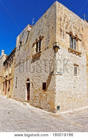 Narrow Silent Street With Lantern At Mdina Old Town