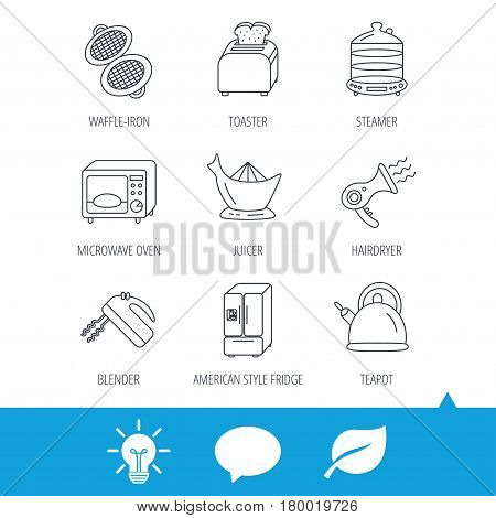 Microwave oven, teapot and blender icons. Refrigerator fridge, juicer and toaster linear signs. Hair dryer, steamer and waffle-iron icons. Light bulb, speech bubble and leaf web icons. Vector