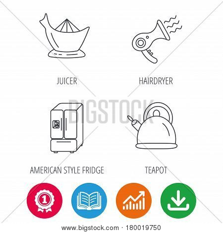 Hair-dryer, teapot and juicer icons. Refrigerator fridge linear sign. Award medal, growth chart and opened book web icons. Download arrow. Vector