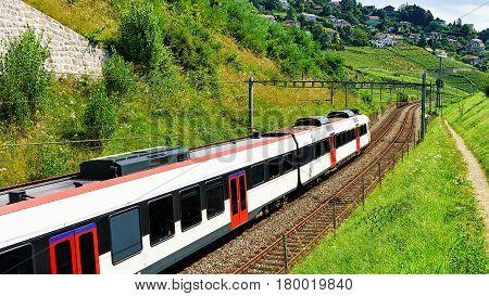 Running Train In Vineyard Terraces Of Lavaux Swiss