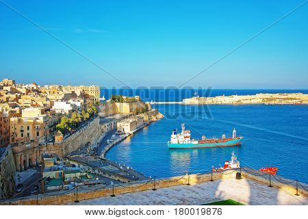 Saluting Battery And Dry Bulk Vessel And St Angelo Fort