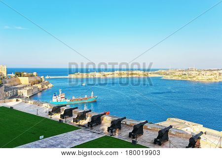 Saluting Battery At Grand Harbor In Valletta Of Malta