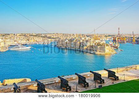 Saluting Battery At Grand Harbor Of Valletta Malta