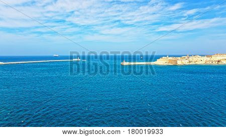 Ship At Breakwaters Of Fort Ricasoli Kalkara St Elmo Valleta