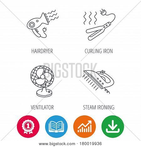 Steam ironing, curling iron and hairdryer icons. Ventilator linear sign. Award medal, growth chart and opened book web icons. Download arrow. Vector
