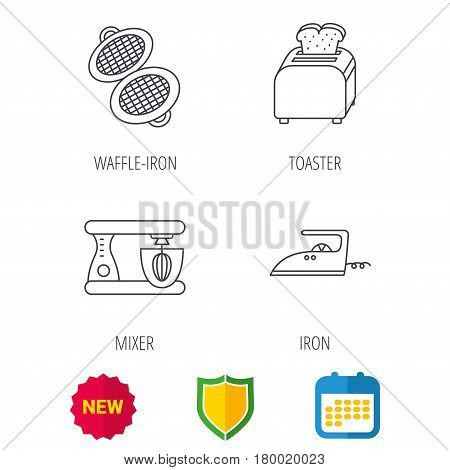 Iron, toaster and blender icons. Waffle-iron linear sign. Shield protection, calendar and new tag web icons. Vector